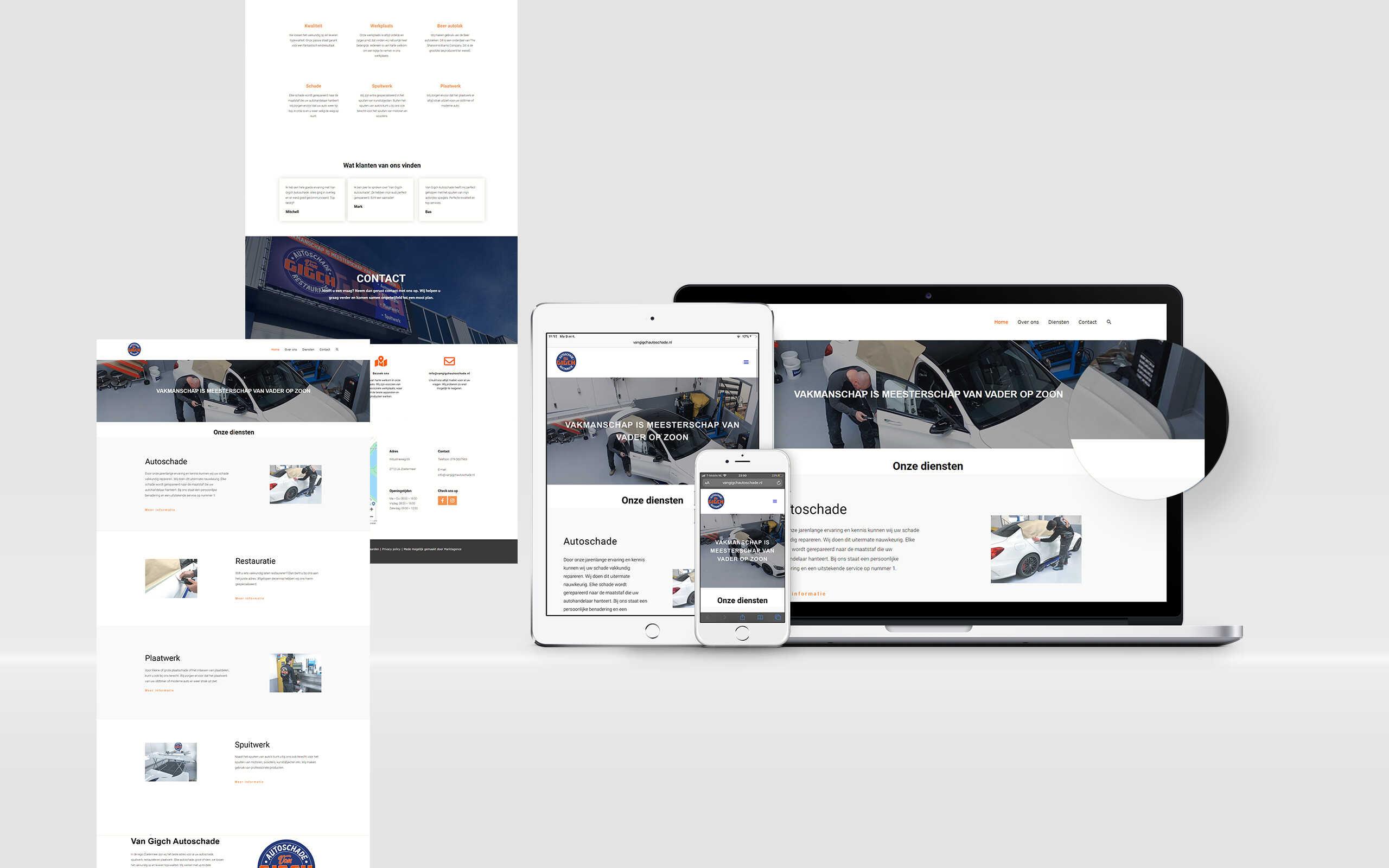 Website laten maken van gigch autoschade