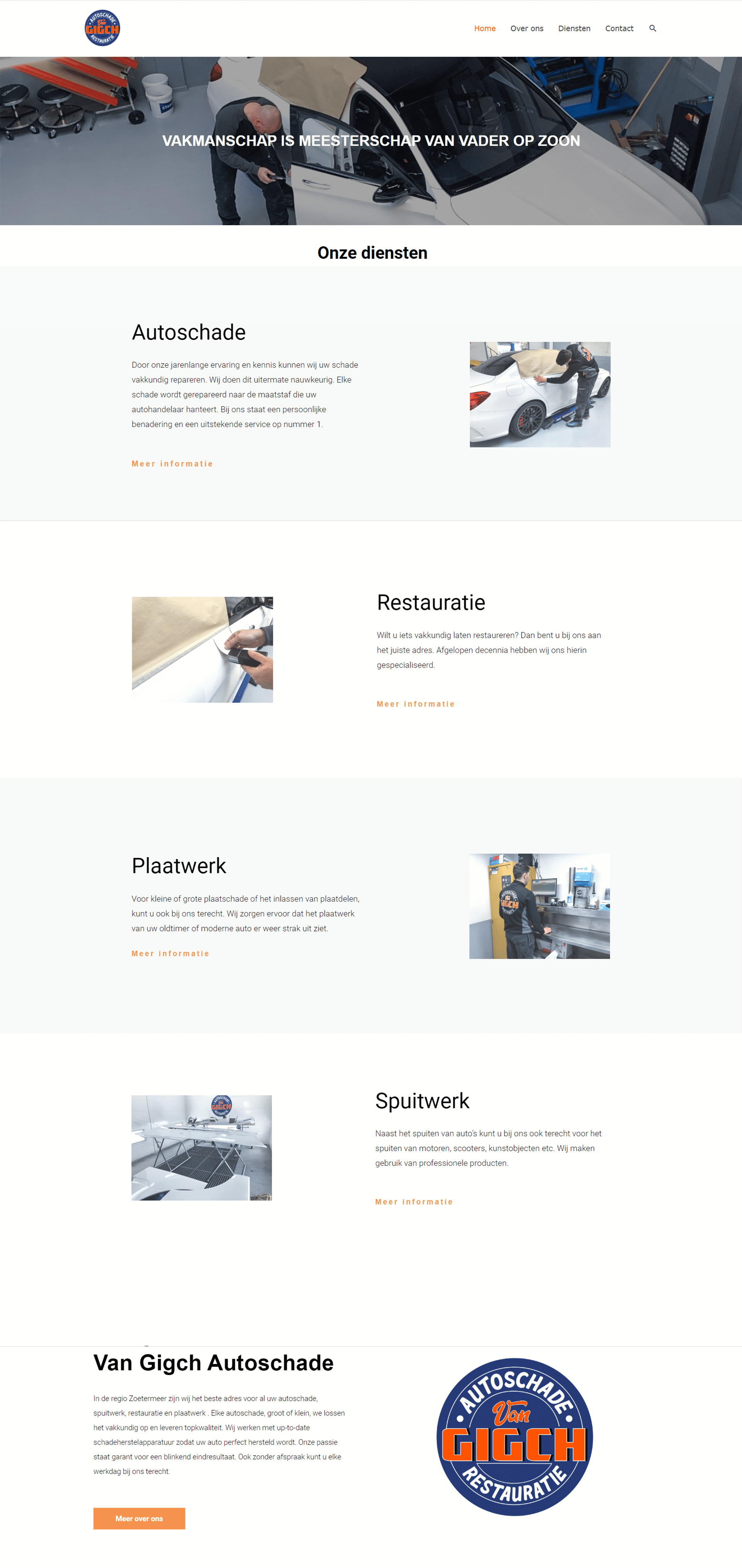 van gigch autoschade webdesign